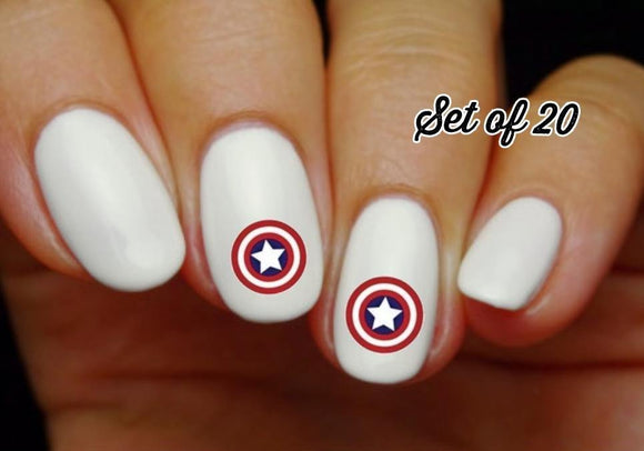 Captain America Nail Decals Stickers Water Slides Nail Art - Nails Creations