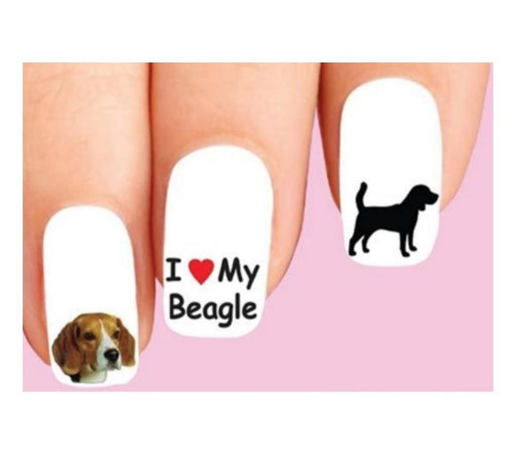 Beagle Assorted Dog Nail Decals Stickers Water Slides Nail Art