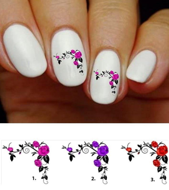 Roses with Corner Vines Flowers Nail Decals Stickers Water Slides Nail Art