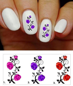 Roses with Vines Nail Decals Stickers Water Slides Nail Art