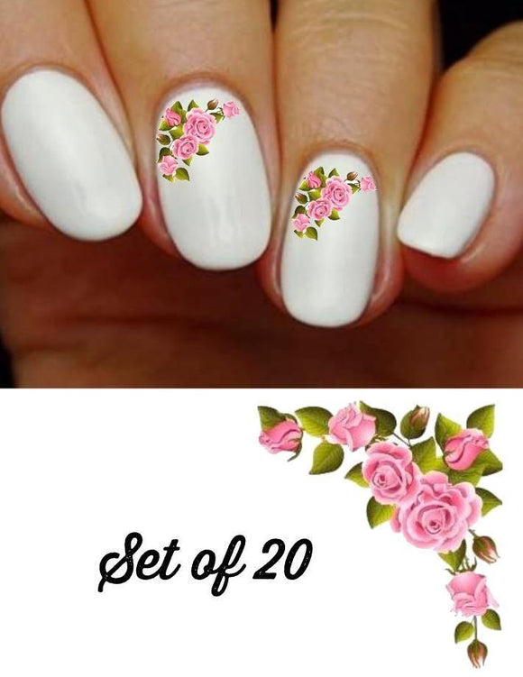 Roses Pink Corner Flowers Nail Decals Stickers Water Slides Nail Art - Nails Creations