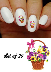 Pansy Basket Nail Decals Stickers Water Slides Nail Art