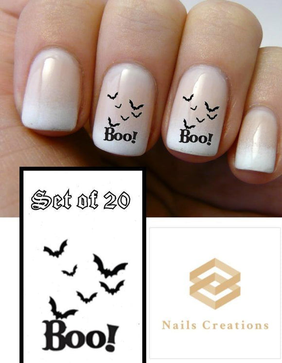 Boo with Black Bats Nail Decals Stickers Water Slides Nail Art