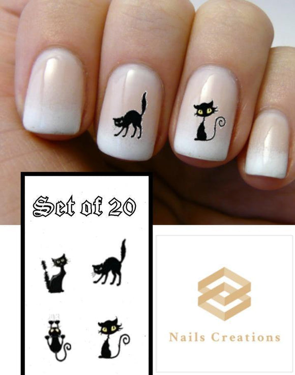 Halloween Scary Black Cat Assorted Nail Decals Stickers Water Slides Nail Art