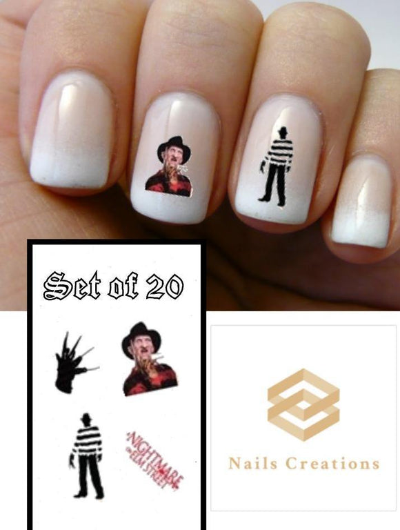Halloween Freddy Krueger Nightmare Elm Street Assorted Nail Decals Stickers Water Slides Nail Art - Nails Creations