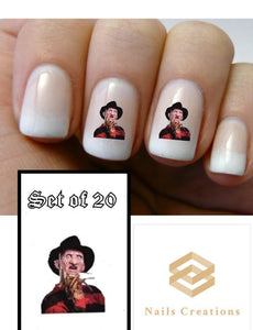 Halloween Freddy Krueger Nightmare Elm Street Nail Decals Stickers Water Slides Nail Art