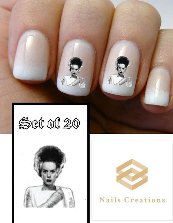 Halloween Bride of Frankenstein Monster Nail Decals Stickers Water Slides Nail Art - Nails Creations