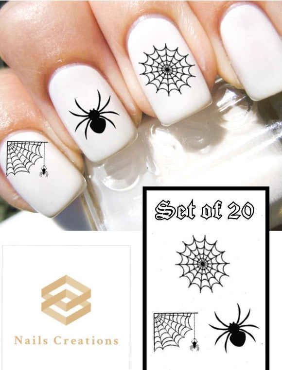 Halloween Black Spider Web Assorted Nail Decals Stickers Water Slides Nail Art - Nails Creations