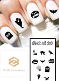 Halloween Silhouettes Assorted Nail Decals Stickers Water Slides Nail Art - Nails Creations