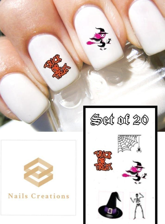 Halloween Pink Witch, Trick or Treat, Spider Web & Skeleton Assorted Nail Decals Stickers Water Slides Nail Art