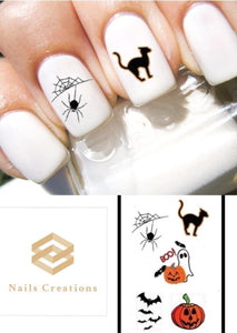 Halloween Assorted Black Cat, Ghost, Spider Web, Bats and Pumpkin Nail Decals Stickers Water Slides Nail Art - Nails Creations
