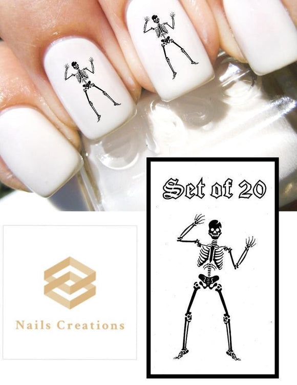 Halloween Skeleton Nail Decals Stickers Water Slides Nail Art - Nails Creations
