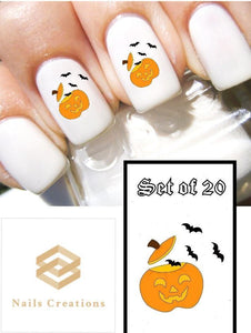 Halloween Pumpkin with Bats Nail Decals Stickers Water Slides Nail Art
