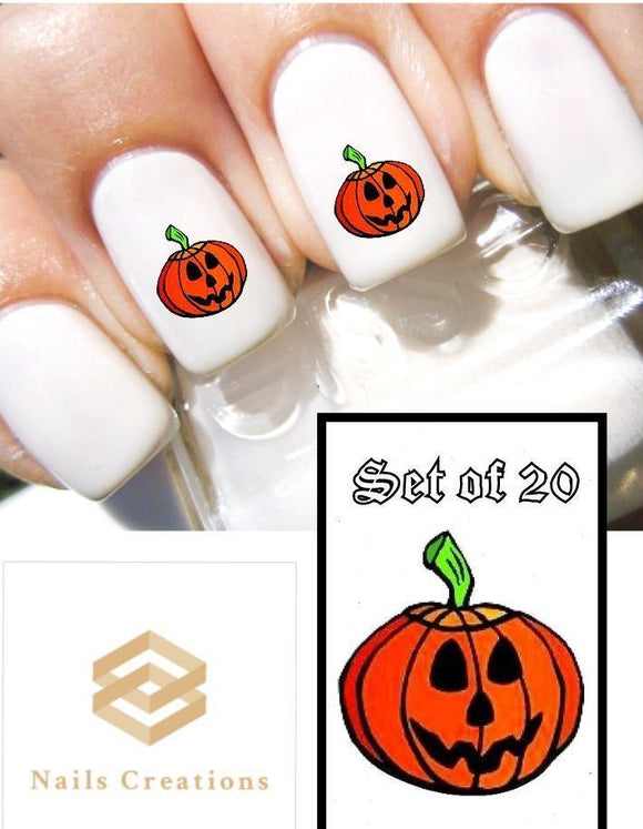 Halloween Pumpkin Jack-o-Lantern Nail Decals Stickers Water Slides Nail Art