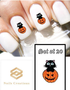 Halloween Black Cat in Pumpkin Nail Decals Stickers Water Slides Nail Art