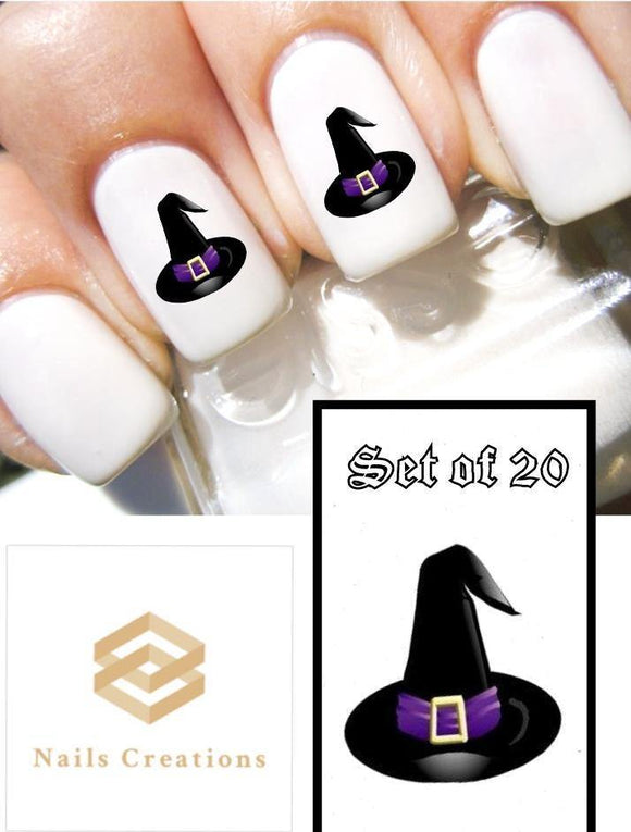 Halloween Witch Hat Nail Decals Stickers Water Slides Nail Art