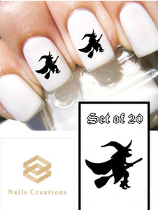 Halloween Black Witch Nail Decals Stickers Water Slides Nail Art