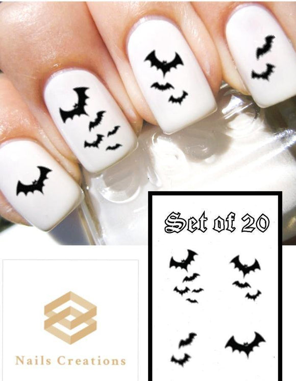 Halloween Black Bats Flying Nail Decals Stickers Water Slides Nail Art