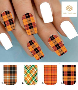 Orange Plaid Full Nail Decals Stickers Water Slides Nail Art - Nails Creations
