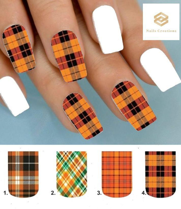 Orange Plaid Full Nail Decals Stickers Water Slides Nail Art