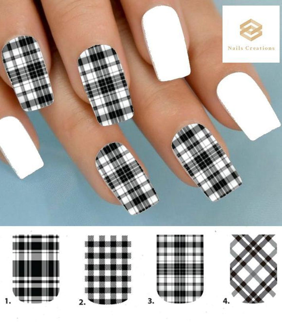 Black plaid Full Nail Decals Stickers Water Slides Nail Art - Nails Creations