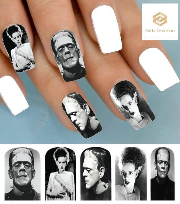 Halloween Monster Frankenstein & Bride Full Nail Decals Stickers Water Slides Nail Art