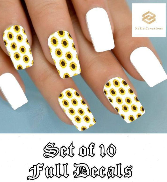 Sunflowers Full Nail Decals Stickers Water Slides Nail Art