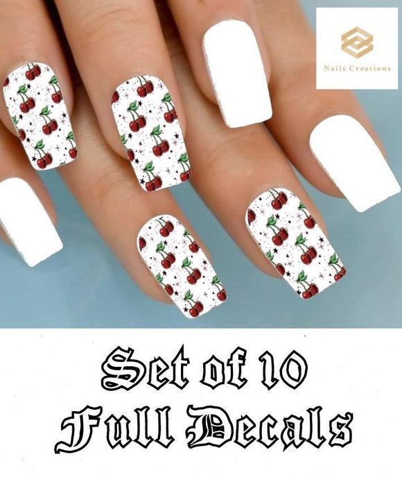 Cherries Cherry Full Nail Decals Stickers Water Slides Nail Art