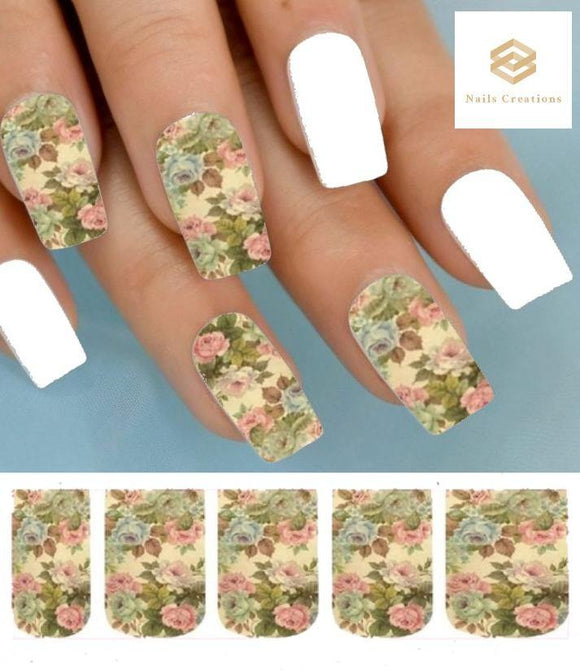 Pink & Taupe Vintage Roses Full Nail Decals Stickers Water Slides Nail Art