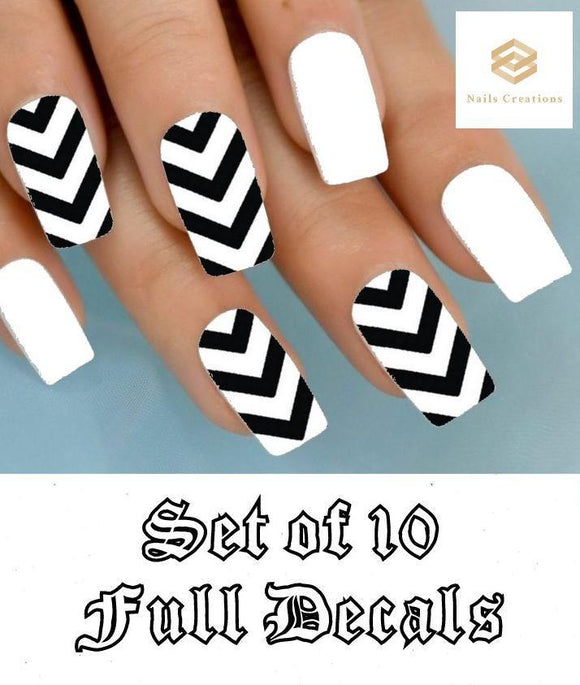 Black Chevron V Stripe Nail Decals Stickers Water Slides Nail Art