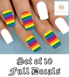Colorful Rainbow Full Nail Decals Stickers Water Slides Nail Art