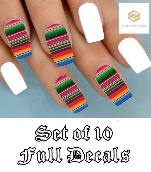 Colorful Mexican Blanket Serape Zerape Full Nail Decals Stickers Water Slides Nail Art