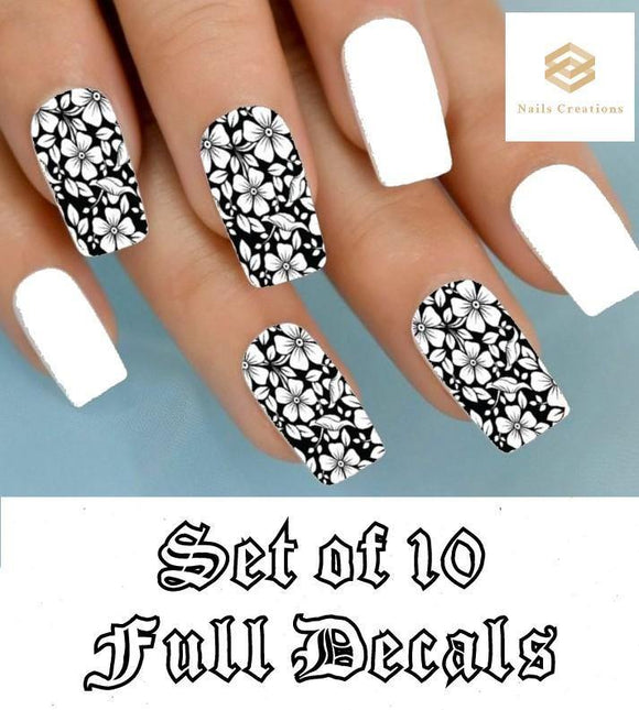 Black and Clear Flowers Full Nail Decals Stickers Water Slides Nail Art