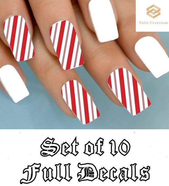 Christmas Holiday Red & Clear Candy Cane Stripes Full Nail Decals