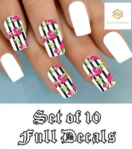 Black Stripes with Pink Roses Full Nail Decals Stickers Water Slides Nail Art