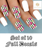 Black Stripes with Pink Roses Full Nail Decals Stickers Water Slides Nail Art - Nails Creations