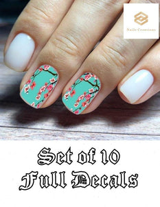 Set Teal Cherry Blossoms Assorted Full Nail Decals Stickers Water Slides Nail Art