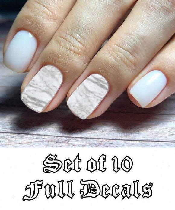 Set Light Grey Marble Full Nail Decals Stickers Water Slides Nail Art