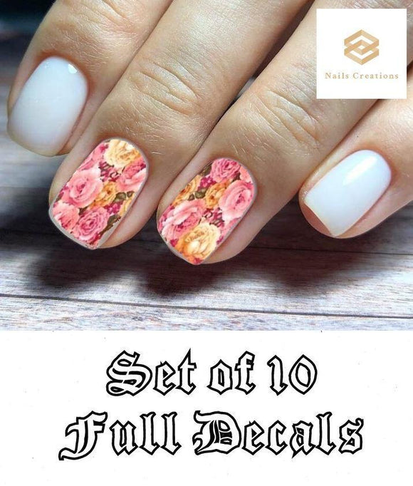 Pink Roses Set Full Nail Decals Stickers Water Slides Nail Art