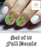 Football and Field Set Full Nail Decals Stickers Water Slides Nail Art - Nails Creations