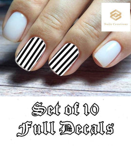 Black and Clear Stripes Set Full Nail Decals Stickers Water Slides Nail Art - Nails Creations