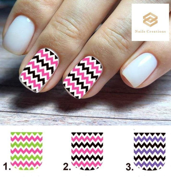 Chevron Zig Zag Set Full Nail Decals Stickers Water Slides Nail