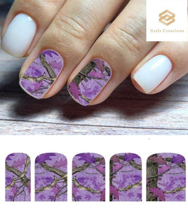 Purple Realtree Mossy Oak Camo Set Full Nail Decals Stickers Water Slides Nail Art