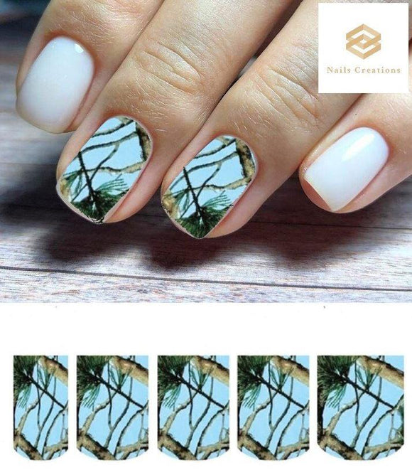 Light Blue Mossy Oak Camo Camouflage Realtree Set Full Nail Decals Stickers Water Slides Nail Art - Nails Creations