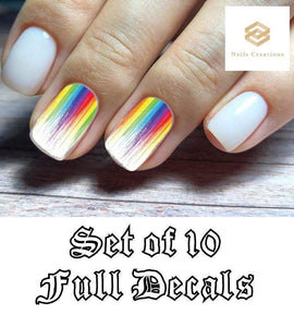 Colorful Rainbow Paint Drip Full Nail Decals Stickers Water Slides Nail Art