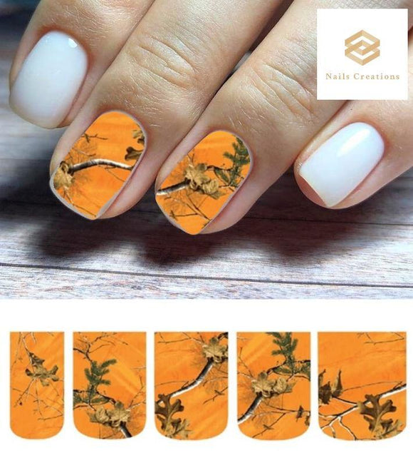 Orange Blaze Realtree Mossy Oak Camo Full Nail Decals Stickers Water Slides Nail Art