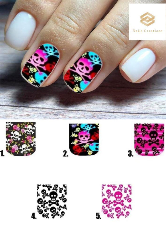 Skulls Full Nail Decals Stickers Water Slides Nail Art