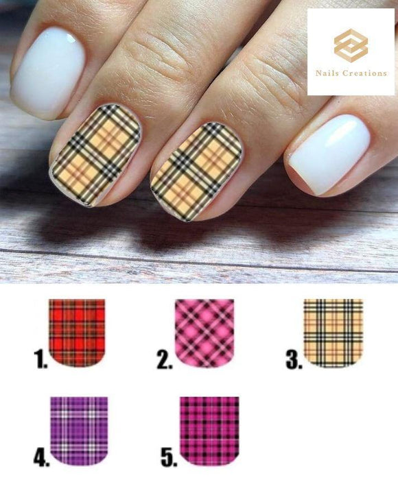 Plaid Full Nail Decals Stickers Water Slides Nail Art - Nails Creations
