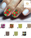 Argyle Full Nail Decals Stickers Water Slides Nail Art