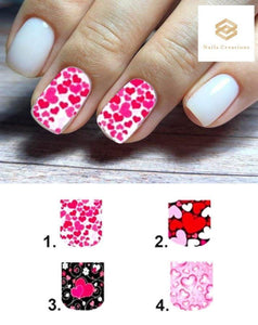Hearts Full Nail Decals Stickers Water Slides Nail Art - Nails Creations